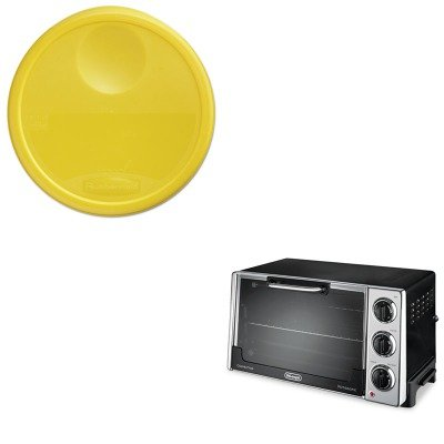 KITDLORO2058RCP5730YEL - Value Kit - Rubbermaid-Yellow Round Storage Container Lid (RCP5730YEL) and Delonghi Convection Oven w/Rotisserie (DLORO2058) kitbwkk5000rcp750411 value kit rubbermaid autofoam touch free skin care system rcp750411 and boardwalk premium half fold toilet seat covers bwkk5000