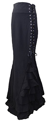 Black Victorian Gothic Steampunk Corset Ruffle Maxi Vintage Style Skirt (Medium, Black)