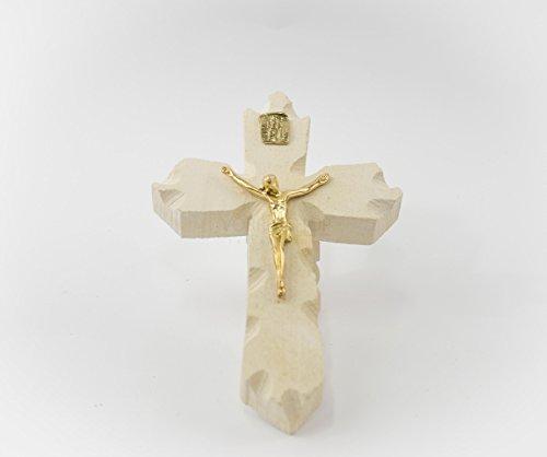 """""""Crocefisso Grande color oro"""" scultura artigianale in pietra leccese realizzato a mano dai maestri d'arte leccesi nelle misure 20 x 13 cm"""