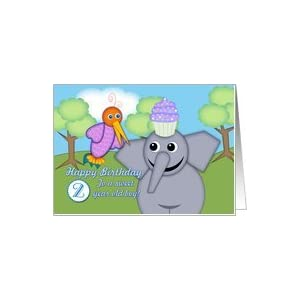 Birthday 2 Year Old Boy Whimsical Bird Elephant A