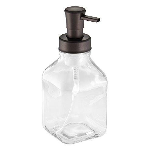 InterDesign Cora Glass Foaming Soap Dispenser Pump, for Kitchen or Bathroom Countertop- Clear/Bronze (Foam Soap Hand Dispenser compare prices)