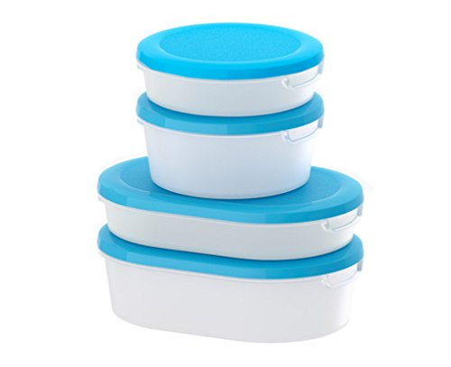Ikea food container set of 4 transparent white blue home garden kitchen dining - Ikea container home ...