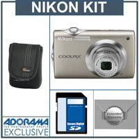 Nikon Coolpix S3000 Digital Camera Kit,- Silver - with 4GB SD Memory Card, Camera Case, 2 Year Extended Service Coverage,