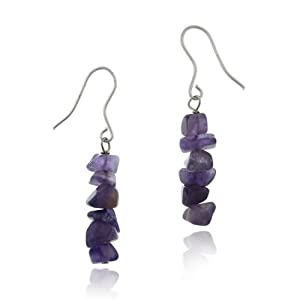 Sterling Silver Genuine Amethyst Chip Earrings