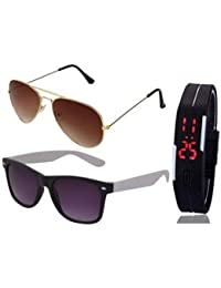 GOLDEN BROWN AVIATOR SUNGLASSES AND BLACK WHITE WAYFARER SUNGLASSES WITH TPU BAND RED LED DIGITAL BLACK DIAL UNISEX...
