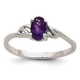 Genuine IceCarats Designer Jewelry Gift 14K White Gold Amethyst Birthstone Ring Size 7.00