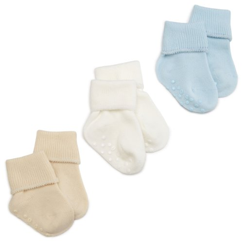 Jefferies Socks Organic Cotton Turn Cuff Sock, 3 Pack, Light Blue/Natural/White, 1-3 Months