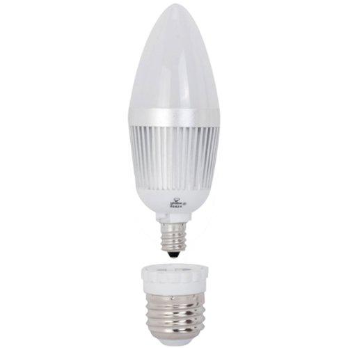 Globe Electric 01424 4-Watt Led Max B10 Soft White, Led Candelabra Base Light Bulb With Medium Base Converter, 25-Watt Equivalent