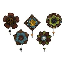 IMAX Caldwell Floral Wall Coat Hooks Set of 5