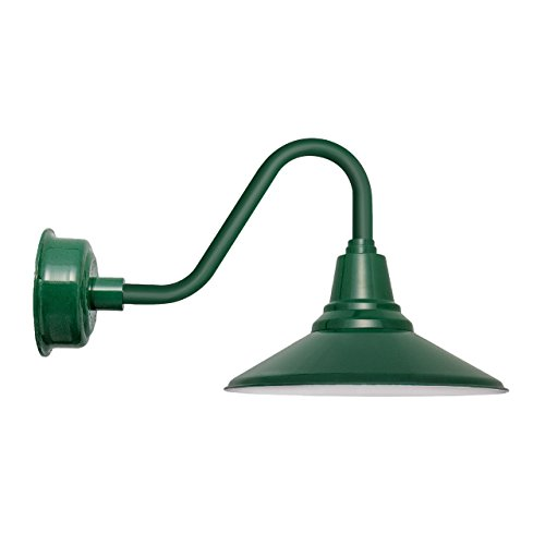 Cocoweb 16 Inch Vintage Green Calla LED Wall Mounted Gooseneck Barn Light with Vintage Green Arm - BCAW16VG-26G