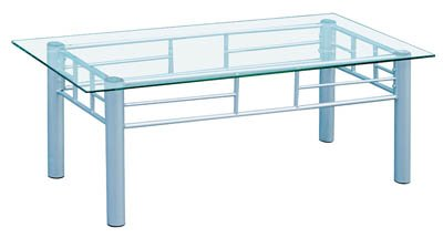 GLASS TOP W/SILVER POWDER COATED FRAME COFFEE TABLE