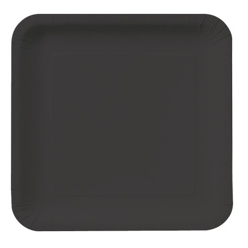 Creative Converting Touch of Color 18 Count Square Paper Lunch Plates, Black Velvet