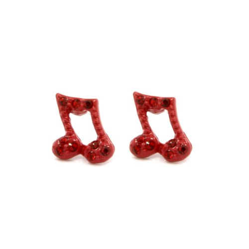 Mens & Lady 10Mm Red Plated Music Note Quaver Shape With Red Crystal Earrings Cz Hip Hop