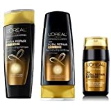 LOreal Total Repair Extreme Reconstructing Shampoo & Conditioner 12.6 fl oz each and LOreal Advanced Haircare Total Repair Extreme Split Ends Fixer, 15ml. (Set of 3)