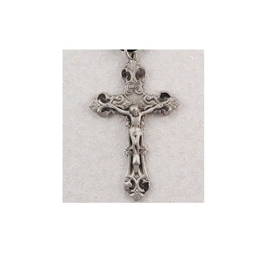 Hand Engraved New England Pewter Medal Crucifix Cross Medal with 24