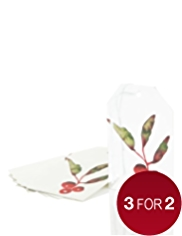 6 Silver Berries Christmas Gift Tags