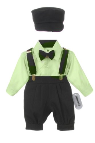 Vintage Dress Suit-Bowtie,Suspenders,Knickers Outfit Set For Baby Boys & Toddler, Black-Sage, 18 Months