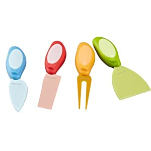 LoveKitchen Set of 4 Colorful Cheese Knives Set Including Cheese Shovel, Cheese Fork, Soft... by LoveKitchen