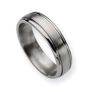 Titanium Grooved Edge 6mm Brushed Polished Band Ring Size 7
