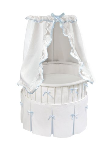 Badger Basket Elite Oval Bassinet with Waffle/Trim Bedding, White/Blue - 1