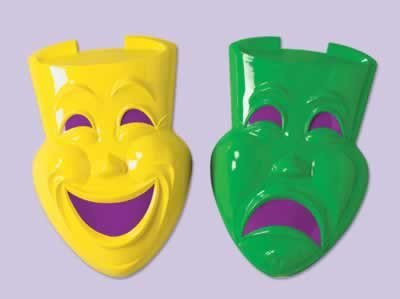 Plastic Comedy & Tragedy Faces (asstd green & yellow) Party Accessory  (1 count) - 1
