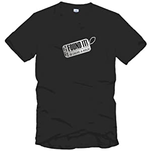 Schwarzes T-Shirt mit Aufschrift Found-It