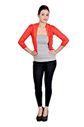 Sweekash Women's Shrug (9SWEE2008-48_Red_Large)