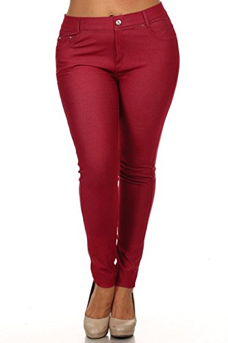 Women's Plus Size Denim Leggings Jeggings with Pockets, 5 Pockets,BURG,XXXL (Fashion Bug Plus Size)
