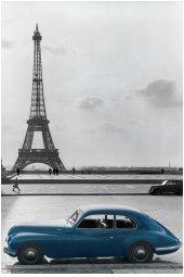 La Voiture Bleue (The Blue Car, Paris) Art Poster Print - 24x36