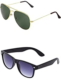 SHEOMY COMBO OF GOLDEN GREEN AVIATOR AND BLACK BLUE WAYFARER SUNGLASSES WITH 2 BOX (SUN-045)