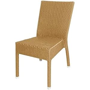 Garden / Patio Wicker / Rattan Side Chair (Natural) Pack 4 - stylish and durable furniture for your garden from Sussex Supplies