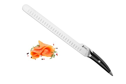 TUO Cutlery Slicing Knife Japan Super 440 High Carbon Stainless Steel Mirror Black Handle Kitchen Knife, 12-Inch