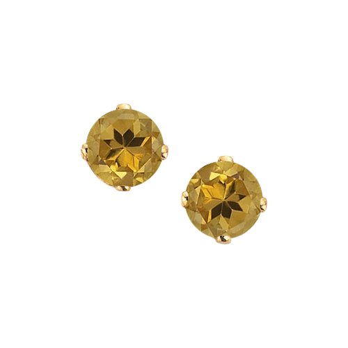 14K Yellow Gold Prong Set 3 MM Citrine Earring Studs
