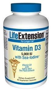 Life Extension Vitamin D3 With Sea-Iodine | 5,000 Iu, 60 Vegetarian Capsules ( Multi-Pack)