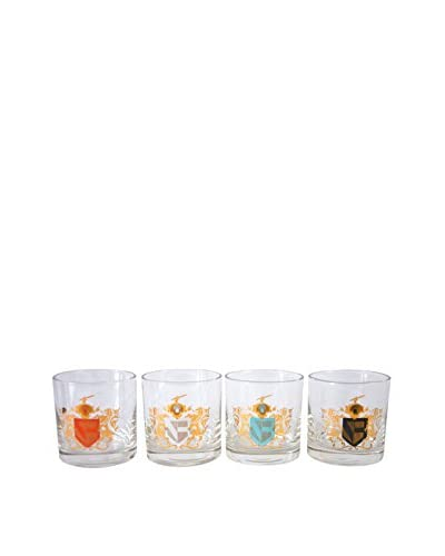 Patina Vie Vintage Set of 4 Crest Cocktail Glasses, Red/White/Turquoise/Black/Gold