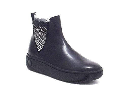 Janet Sport scarpe donna, 36804, sneakers slip on in pelle e camoscio, colore nero piombo