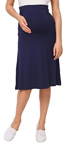 Happy Mama Womens Maternity Skater Skirt Overbump Elastic Panel Pregnancy. 983p (Navy, US 8/10, L)