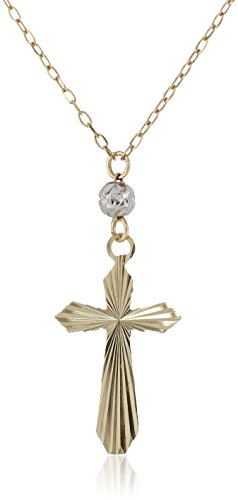 14K Two-Tone Yellow And White Gold Cross Beads Drop Pendant Necklace, 17""
