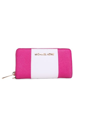 Michael Kors Saffiano Leather Phone Wallet Raspberry/White