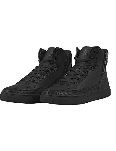 Urban ClassicsZipper High Top Shoe - Scarpe da Ginnastica Basse Unisex - Adulto , Nero (Schwarz (black 7)), 43
