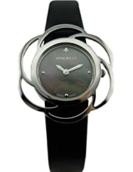 Nina Ricci SS Case With Flower Shape Bazel, Black MOP Dial With 1 Diamond, Black Leather Strap