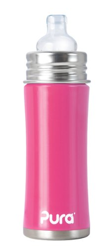 Pura Stainless Kiki Sippy Bottle Stainless Steel, 11 Ounce, Pretty Pink