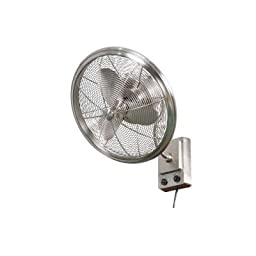 Wall Mount Fan Full Oscillation 18 in. Decorative Cage Bentley II Brushed Nickel, Ideal for Indoor and Outdoor Use