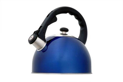 Creative Home Satin Splendor Metallic 2.8 Quart Whistling Tea Kettle, Blue