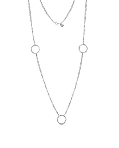 Belcho NB1400S Three Textured Rings with Double Chain Long Necklace