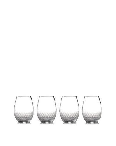Fitz & Floyd Set of 4 Daphne 17-Oz. Stemless Goblets, Clear