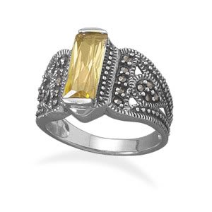 Sterling Silver Yellow CZ Bar and Marcasite Ring / Size 6
