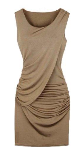 Women Midi Pencil Evening Tea Dress Pleated Bodycon Stretch Dress (L=Us6, Khaki)