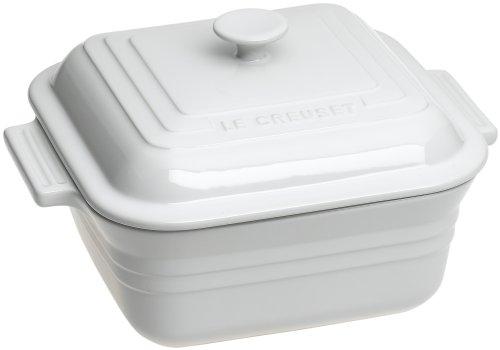 Le Creuset Stoneware 3-Quart Square Casserole with Lid, White