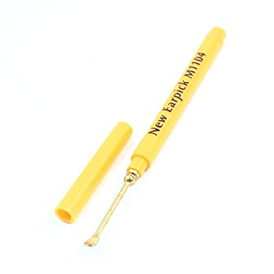 Yellow Metal Earpick Ear Curette Earwax Cleaner Remover Spoon Tweezers